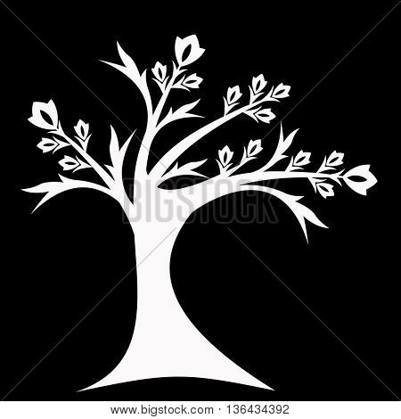 Beautiful art tree silhouette isolated on black background