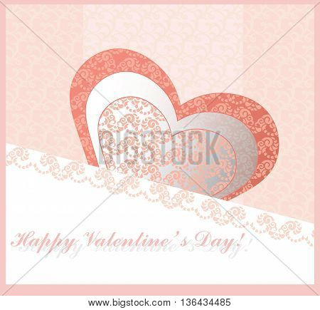 Happy valentines day lace card in shape of a heart with text. Pink Background With Ornaments Hearts. Doodles and curls. Vector illustration