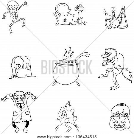 Black and white doodle Halloween flat vector art