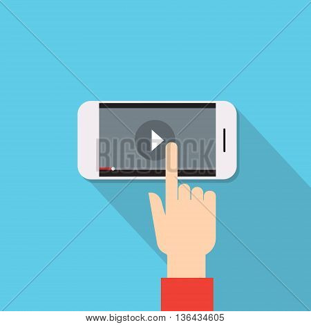 Video Player Hand Touch Screen Play Button Cell Smart Phone Flat Vector Illustration