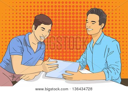 Two Man Using Tablet Computer Pop Art Colorful Retro Vector Illustration