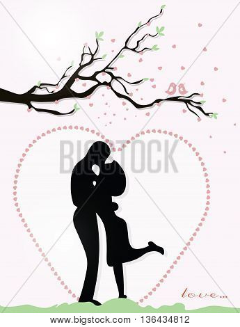 Valentine day Couple in love on heart background. Vector
