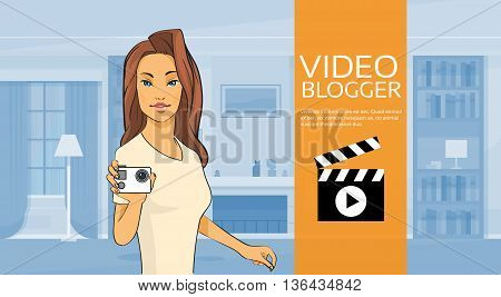 Woman Blogger Hold Camera Video Blog Concept Home Interior Vector Illustration