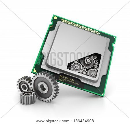 CPU. Gears near and inside processor isolated on a white background. 3d illustration