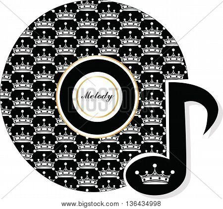 Decorative colorful vector crown filled with musical notes. Vector