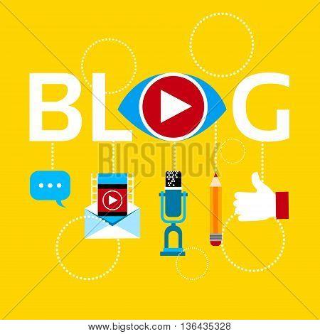 Modern Video Blog Banner Blogging Concept Flat Vector Illustration