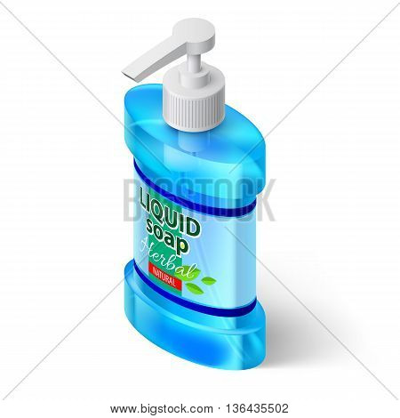 Blue Bottle Liquid Soap with Label Herbal Isolated