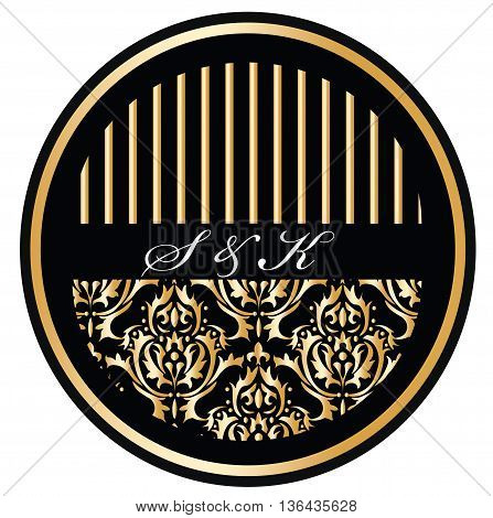 Round invitation card with golden ornaments. Vector illustrastion