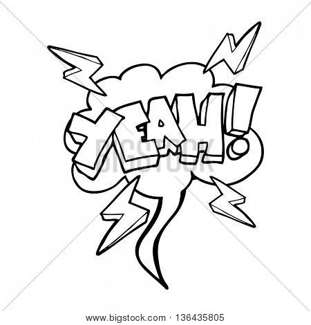 Yeah! freehand drawn speech bubble cartoon symbol