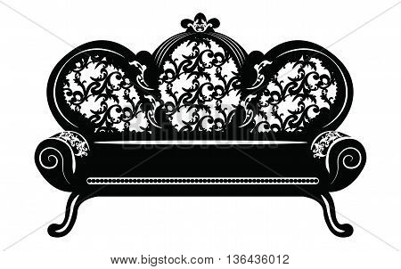 Vintage Baroque Sofa round shaped with luxurious ornaments. Vector