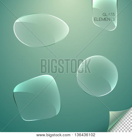 Different Abstract Glass Elements With Reflections On A Blurred Background. Transparent Glass Banner