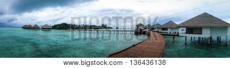 Landscape view of the water bungalows at Maldives Island