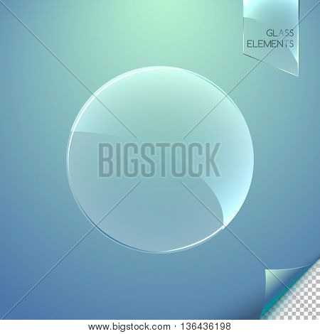 Abstract glass element with reflections on a blurred background. Transparent glass element. Vector illustration