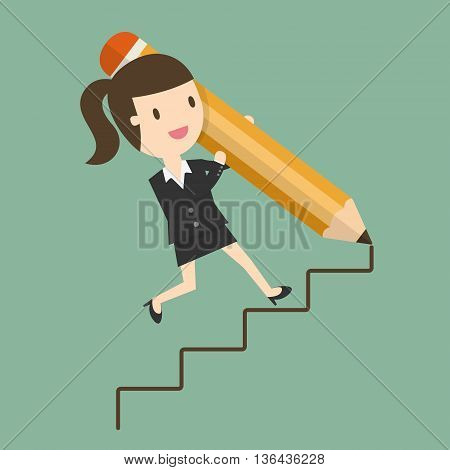Way To Success Concept of Business Opportunity. Flat Design Cartoon Illustration