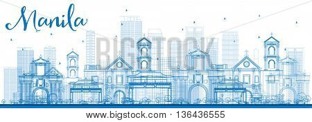 Outline Manila Skyline with Blue Buildings. Business Travel and Tourism Concept with Modern Buildings. Image for Presentation Banner Placard and Web Site.
