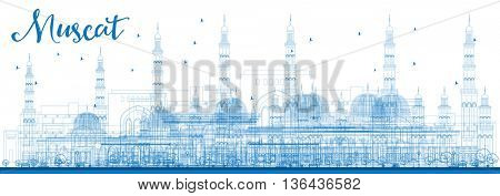 Outline Muscat Skyline with Blue Buildings. Business Travel and Tourism Concept with Historic Buildings. Image for Presentation Banner Placard and Web Site.