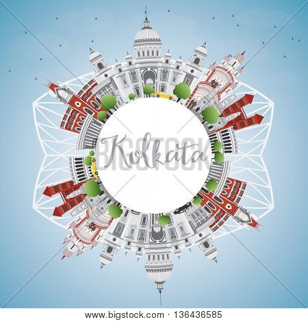 Kolkata Skyline with Gray Landmarks and Copy Space. Business Travel and Tourism Concept with Historic Buildings. Image for Presentation Banner Placard and Web Site.