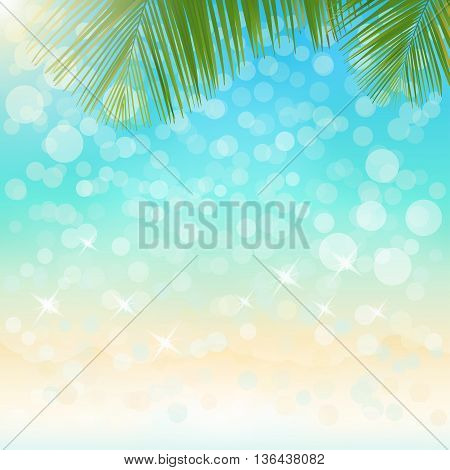 Blurred sparkling sea water summer background with bokeh vector illustration