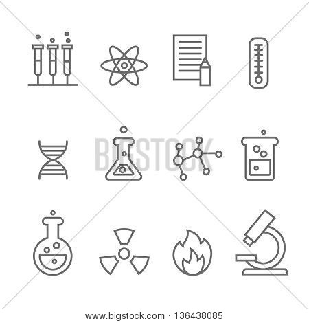 Chemistry and bio technology line science icons. Biology molecular, structure molecule, illustration