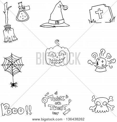 Element flat Halloween doodle vector arrt illustration