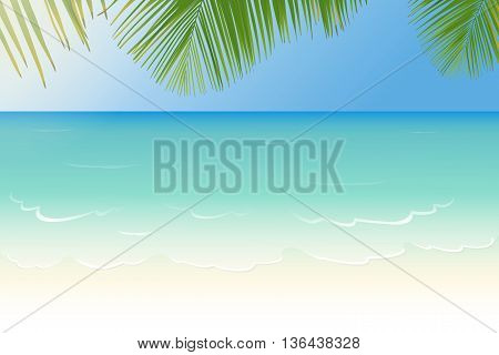 White sandy beach with crystal clear blue sea and palm tree leaves vector illustration
