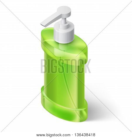 Green Liquid Soap Dispenser in Isometric Style
