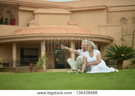 Happy Mature couple enjoy fresh air on vacation