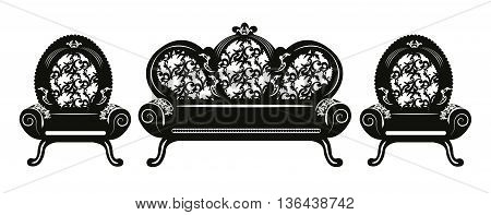 Vintage Baroque Sofa and armchairs set round shaped with luxurious ornaments. Vector