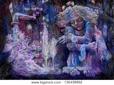 little lonely fairy being sitting behind a fence next to a tab pouring water from stars, colorful paiting.