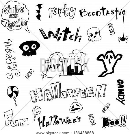 Cute doodle Halloween on white backgrounds illustration