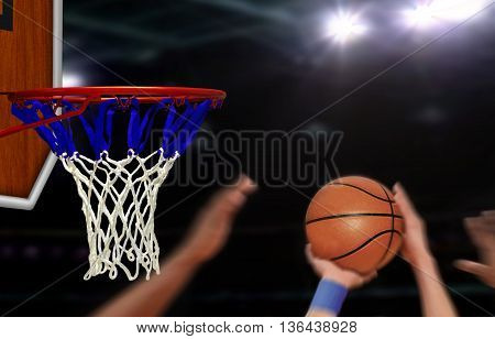Basketball jump shot to the hoop by player