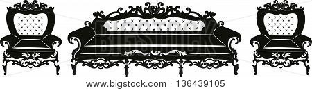 Vintage Baroque Sofa and armchair set with luxurious ornaments. Vector