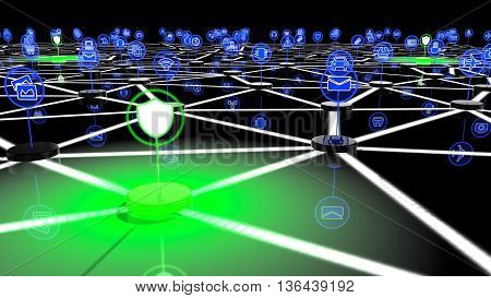Secure IOT network with nodes with IOT icons and green shielded nodes 3D illustration security concept