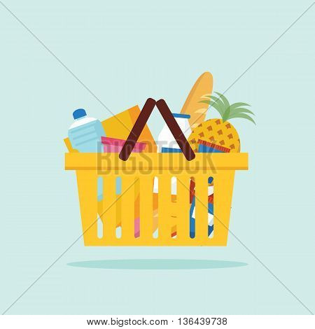 Shopping basket with foods. Flat vector illustration. EPS 10