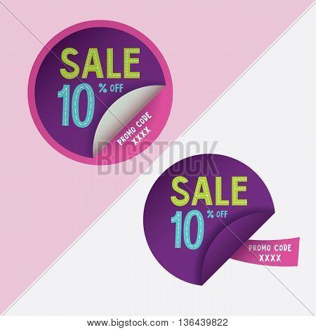 Two round stickers with 10 per cent discount and promo code for web site, for web banners. Eps10 vector