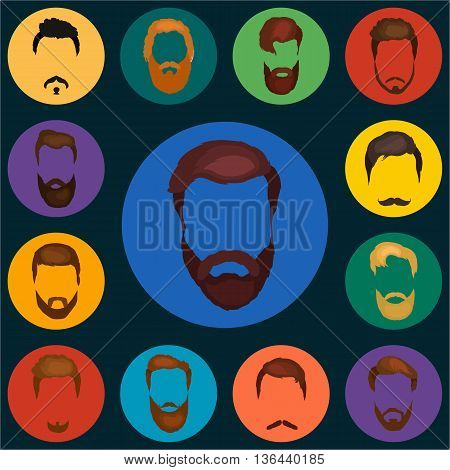 Mans trendy haircut types for burber shop. Isolated collection of mans besrds design, heircut of head heir and mustaches.Hipster hair and beards, fashion vector illustration set.