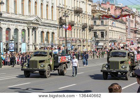 St. Petersburg, Russia - 9 May, Soviet truck
