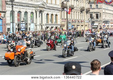 St. Petersburg, Russia - 9 May, A large group of bikers on motorcycles, 9 May, 2016. Holiday-action