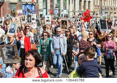 St. Petersburg, Russia - 9 May, A crowd of people with portraits in hands, 9 May, 2016. Holiday-action