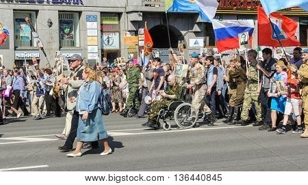 St. Petersburg, Russia - 9 May, Veteran paratroopers in action