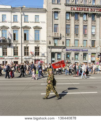 St. Petersburg, Russia - 9 May, A teenager with a flag, 9 May, 2016. Holiday-action