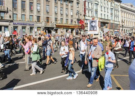 St. Petersburg, Russia - 9 May, People with families in mind share, 9 May, 2016. Holiday-action