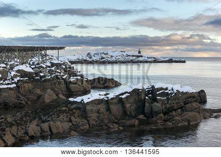 Lofoten islands landscape during winter time North Norway