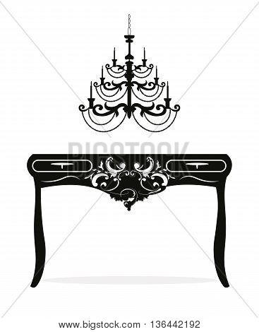 Classic Baroque Table and Lamp furniture set. Vector sketch furniture with luxury ornaments