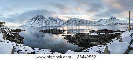 Lofoten islands panorama during winter time North Norway