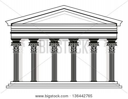 Roman/Greek Vector Pantheon temple with Corinthian columns. High detailed architecture frontal view