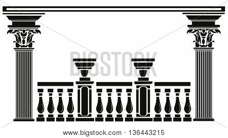 Vector Architectural decorative columns. Interior design decoration panels. Classic Baroque Vintage style
