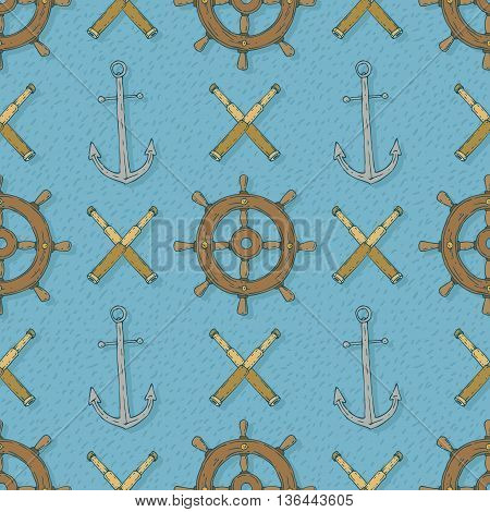 Pirate Seamless Vector Pattern with AnchorsRetro Ship Steering Wheels and Spyglasses on a Blue Background