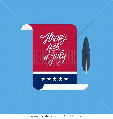 Happy 4th of july hand drawn lettering. American Independence Day greeting card with paper and feather. Vector illustration.