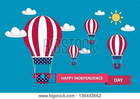 4th of july American independence day greeting card with hot air balloons in american flag colors with red ribbon. Flat design vector illustration.